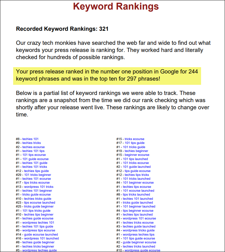 News Release Submission Report - Keyword Rankings