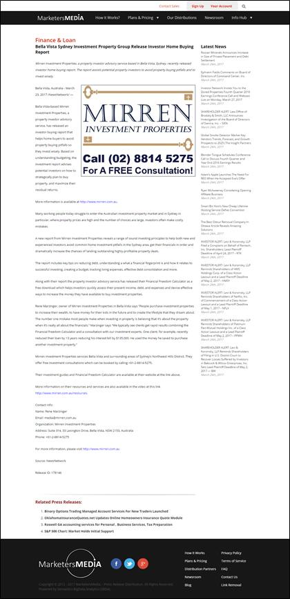 Mirren Investment Properties - News Release March 23 2017
